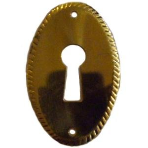 Brass Keyhole Cover (S-119 PLAIN STAMPED VERTICAL BRASS KEYHOLE ESCUTCHEON ANTIQUE REPRODUCTION + FREE BONUS (SKELETON KEY BADGE))