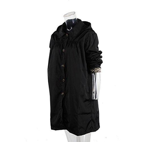 abrigo abrigo señoras impermeables Internet Escudo Negro con de Las libre aire al chaqueta manga impermeable impermeables larga capucha HdaUwqU