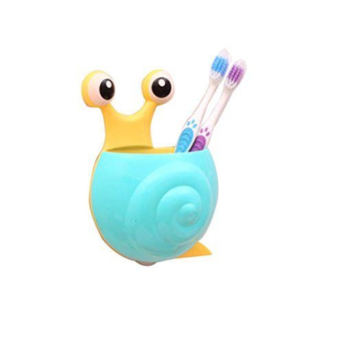 Besde Cute Creative Cartoon Lovely suit Sucker Toothbrush Holder Toothpaste Snail Bathroom Set (Blue)