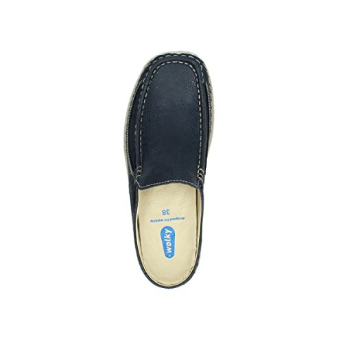 90820 Wolky Comfort Nubuck Blue Roll Clogs Dots Slide Denim wpgIqA
