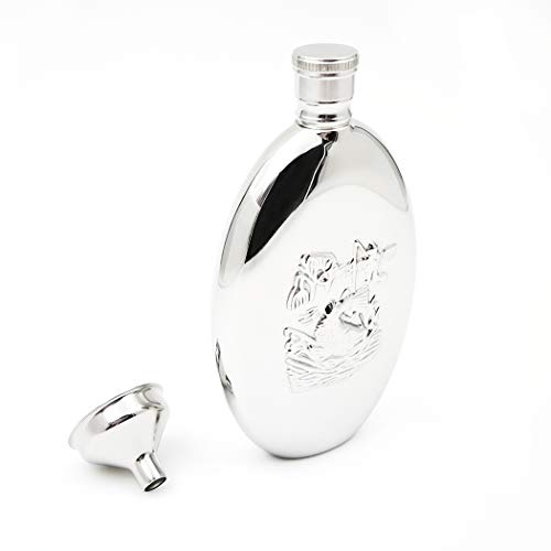 (iSavage 6oz Oval Hip Flask with Embossed Fishing Pattern with a Funnel 18/8 Stainless Steel-YM124)