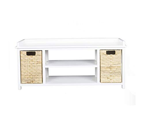 (Hеаthеr Аnn Crеаtiоns Deluxe Premium Collection Raleigh Modern Media Stand with Shelf and Two Storage Baskets 42