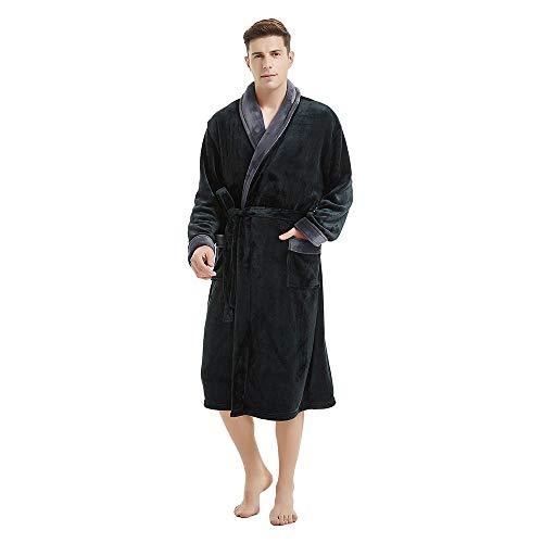 (U2SKIIN Mens Fleece Robe Plush Collar Shawl Bathrobe (Black/Dark Grey, S/M))