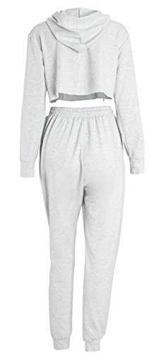 WorkTd Women's Crop Top Hoodie Pant 2 Pcs Sweatsuit Set Sports Outfit Grey M by WorkTd (Image #4)