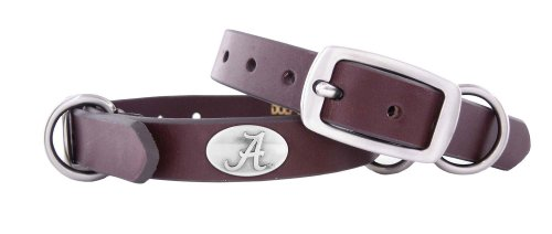 Zep-Pro Alabama Crimson Tide Brown Leather Concho Dog Collar, Small