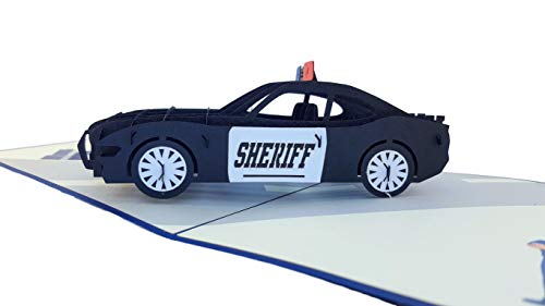 iGifts And Cards Sheriff Car 3D Pop Up Greeting Card - Protect Serve, Cruiser, Awesome, Half-Fold, Happy Birthday, Retirement, Congratulations, Training Academy Graduation, Thank You, Deputy Promotion (Greeting Cards Cars)