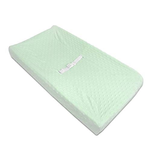 American Baby Company Heavenly Soft Minky Dot Fitted Contoured Changing Pad Cover, Mint Puff, for Boys and Girls