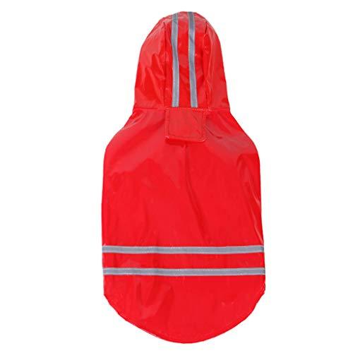 Gyoume Pet Dog Hooded Raincoat Pet Waterproof Puppy Dog Jacket Outdoor Coat (Red, L)