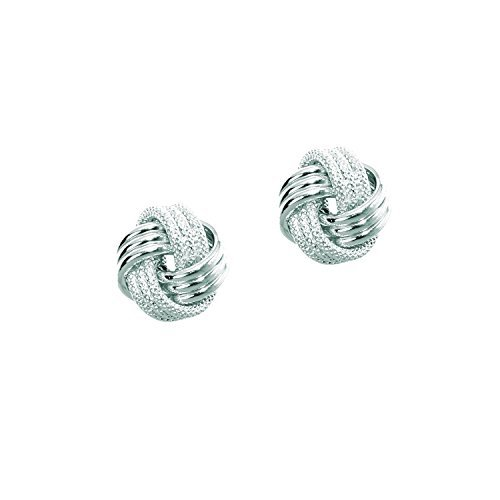 14k White Gold Polish Textured Finish 10mm 3 Row Love Knot Earring by Diamond Sphere