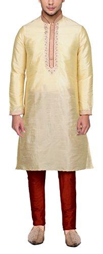 Maharaja Mens Raw Silk Embroidered Festive Kurta Pyjama Set in Gold [MSKP016-46]