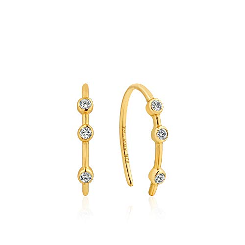 (Unusual Abstract 925 Sterling Silver CZ Loop Front & Back Hooped Earrings for Women, Gold Plated)