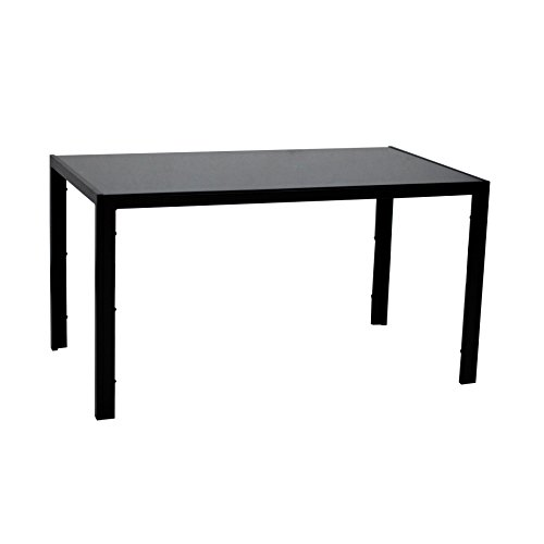 Dining Table with Glass Top Metal Leg & Frame,Black Opened Box