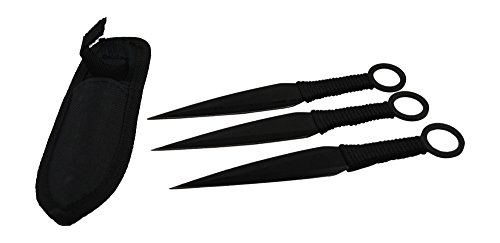 Rogue-River-Tactical-Best-3-Pc-Kunai-Throwing-Knife-Set-Stealth-Black-Blade-Cord-wrapped-Handles-with-Nylon-Carrying-Case-Ninja-Martial-Arts-Weapon-Throwing-Knives