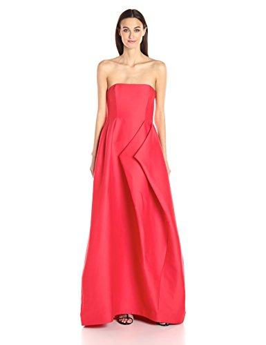 HALSTON-HERITAGE-Womens-Strapless-Silk-Faille-Gown-with-Folded-Drape-Skirt