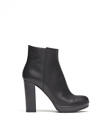 Poi Lei PoiLei Sam - Damen-Schuhe/Klassische High-Heel Stiefeletten Aus Echt-Leder - Ankle-Boot mit Block-Absatz und Profil-Sohle - Schwarz
