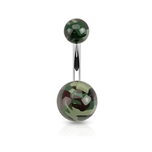 Camo Style Acrylic Belly Ring, D - Green/White Camouflage