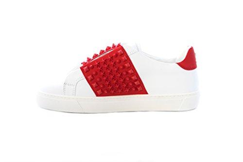 PHILIPP PLEIN Sneaker Uomo Fight in Pelle Bianca e Rossa