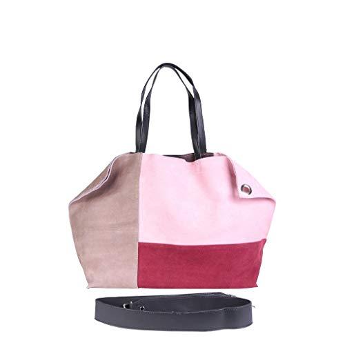 Mujer Angkorly Moda Burdeos Gamuza Sobrio Color De Bolsa Mano Tote Estudiante Bag Elegante Idea Capacidad Compra Gran Regalo Block Shopper Cabas Bandolera aUraqWnc1
