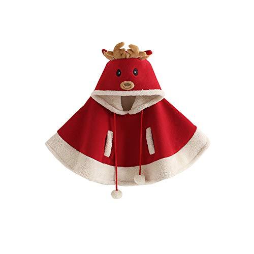 - ALLAIBB Little Girl Christmas Warm Cloak Deer Hood Cape Outwear Coat Winter Snowsuit Size 3T (Red)