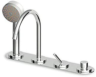 Zucchetti Isystick grifo para bañera 4 agujeros con ducha de mano ZP1157-Cromo