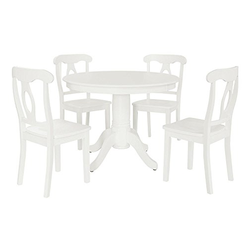 (Aubrey 5 piece Traditional Height Pedestal Dining Set, White)
