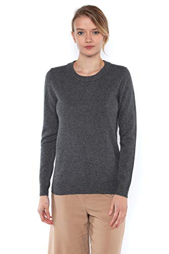 00% Pure Cashmere Long Sleeve Crew Neck Sweater (M, Charcoal) ()