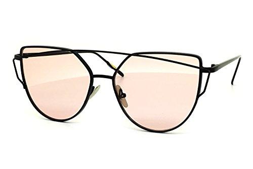 O2 Eyewear 842 Premium Oversized Cat Eye Tinted Flat Lenses Retro Street Fashion Metal Frame Women Sunglasses (BLACK/PINK, - Pads Ny Prescription