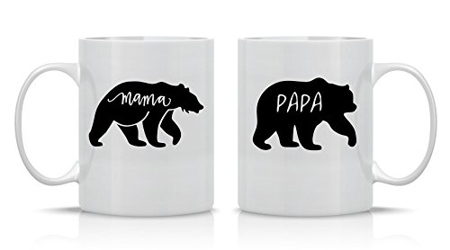 Mama Bear and Papa Bear Couples Sets - 11oz White Ceramic Coffee Mug Couples Sets - Funny His and Her Gifts - Husband and Wife Anniversary Presents - By CBT Mugs