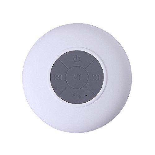 niceEshop(TM) Mini Altavoz Bluetooth Inalámbrico Impermeable con Ventosa para Baño (Blanco)