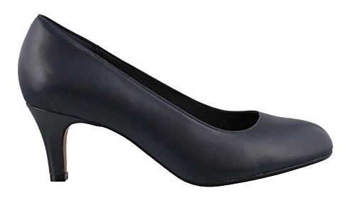CLARKS Women's Heavenly Heart Dress Pump, Navy Leather, 8 M US