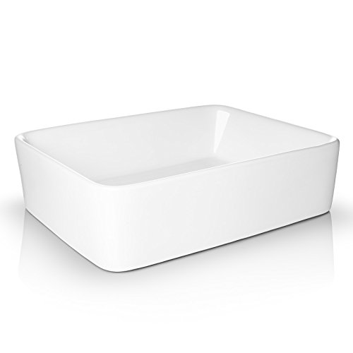Miligore 19 x 15 Rectangular White Ceramic Vessel Sink – Modern Above Counter Bathroom Vanity Bowl