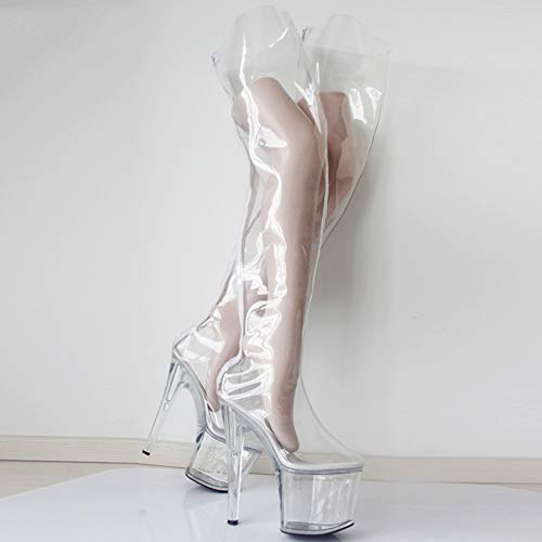 Women's Knee High Boots Transparent Stiletto Ankle Party Heeled Sandals SM Flirting Ballet Pueen Boots Unisex,Clear,43EU/12US