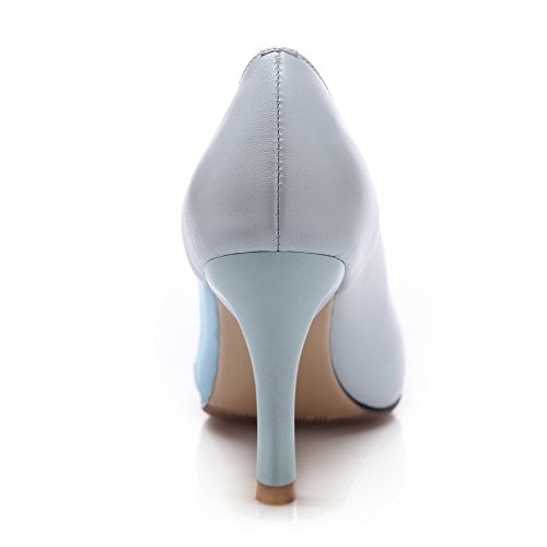 Solid Closed Material Toe Women's Pointed LightBlue Pumps Shoes Soft Spikes Stilettos WeiPoot Pull On qUXzTwU4x