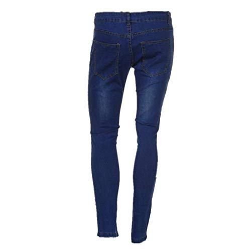 Skinny Slim Non Uomo Fori Ragazzi Classiche Fit Moto Dunkelblau Destroyed Denim Posizionati Pantaloni Vintage Chern Jeans Biker Pieghevoli tO1vawqx1