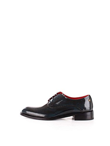 Base London Mens Bexley Hi-Shine Lace Up Leather Smart Oxford Shoes Navy