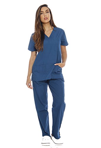 Just Love Women's Scrub Sets Six Pocket Medical Scrubs (V-Neck With Cargo Pant), Carribean Blue, 2X
