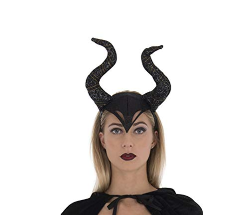 Zac's Alter Ego Black Evil Witch Headband with Glitter & Ribbon Horns]()