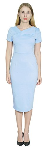 - Marycrafts Women's Office Business Short Sleeve Pencil Midi Dress 12 Sky Blue 2