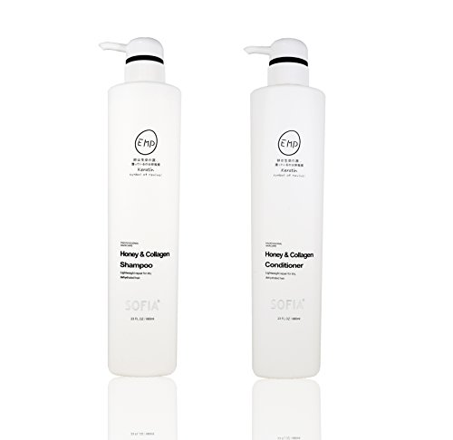 (ODE SOFIA Honey & Collagen Shampoo and conditioner, for normal to dry hair, women, men and teens, 23Fl OZ, 680ml (set of Shampoo and conditioner))
