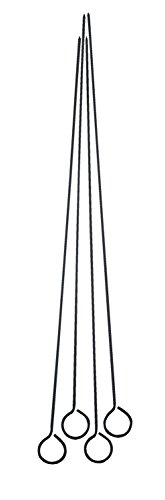 Harold Import Co. 43113 HIC Reusable Nonstick Barbecue and Grilling Shish Kabob Skewers with Ring-Handle Top, 15-Inches Long, Set of 4, 15 Inch, Black