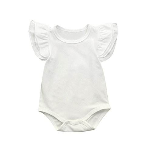 (Amanod Newborn Infant Baby Girls Ruffles Sleeve Romper Playsuit Clothes Outfits Clothes)