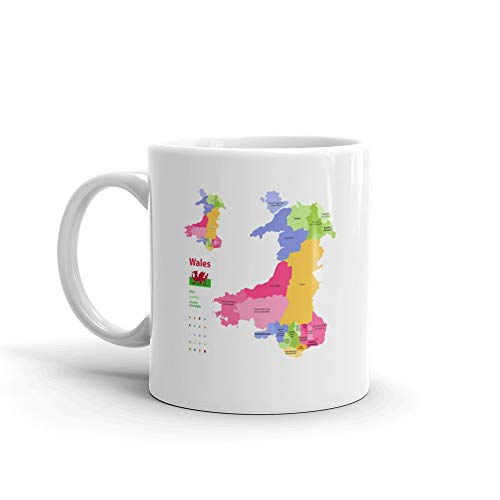 Preserved Counties Of Wales Administrative Map With Districts Welshlanguage Ms Are Given In Parentheses Where They Dif Tea Mugs Ceramic 11 Oz Cups