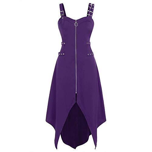 Aniywn Women's Steampunk Gothic Dress Ladies Sexy Sleeveless Backless Irregular Zipper Dresses Halloween(Purple,L)