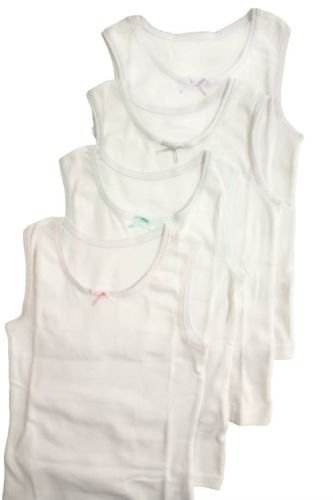 Sportoli Girls Ultra Soft 100% Cotton White Tank Top Undershirts - Size 7/8, Pack of 4 (Girls Undershirt)
