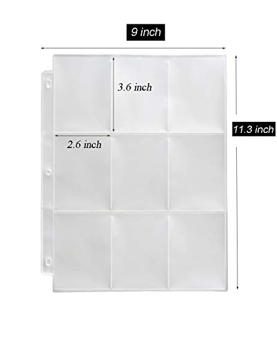Toupeone 9-Pocket Baseball Card Sleeves For 3 Ring Binder