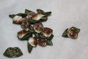 Lot 4 for 1 Cream Brown Ombre Variegated Olive Green Ribbon Roses 1.25