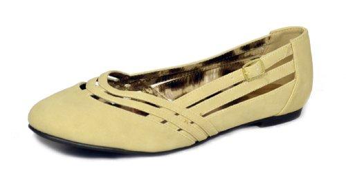 Qupid Womens Palmer Ballerina Slip On Flats Stone Buckle vWQwd8EIt4