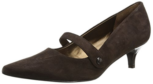 Trotters Womens Petra Zeppa Pump In Pelle Scamosciata Marrone Scuro