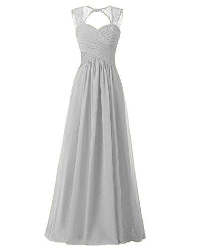Chiffon Abendkleider Carnivalprom Spitze Damen kleider Brautjungfern Ballkleid lang Silber 5pZTUqwZ