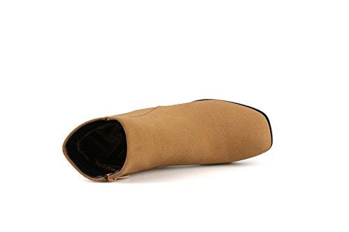 Frosted Zipper Toe Boots Square BalaMasa Kitten Yellow Girls Heels Yqq15